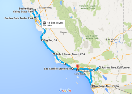 Route Roadtrip Kalifornien